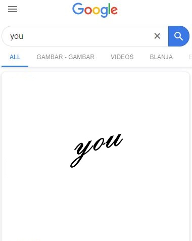 When i typed 'you' inGoogle